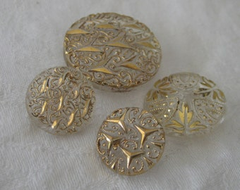 Lot of 4 VINTAGE Gold Trim Graduated Size Clear Glass BUTTONS