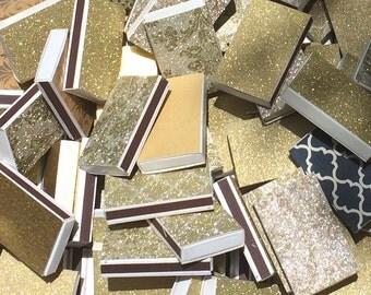 10 Gold Rush Matchbox Wedding Favors  Gold Leaf