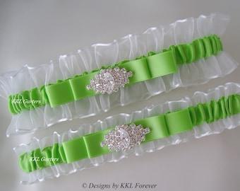 Rhinestone Marquee Wedding Garters White and Lime Green Garters