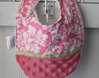 Baby-Toddler-Bib-Bibs-Girl-Pink-Damask-Minky Dot-Terry-Feeding-Shower-Holiday-Birthday-Gifts-Gift-Gifts