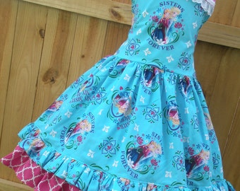 Made to order Custom Boutique Disney Frozen Anna Elsa  Dress Girl 2 3 4 5 6 7 8