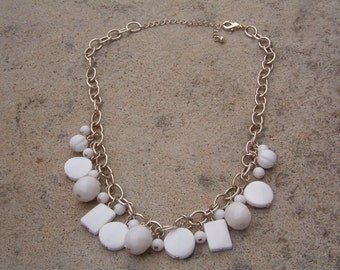 Necklace, Vintage Dangle White Beaded Chain Necklace