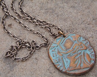 Necklace, Vintage Medallion Replica Coin Necklace with Chain