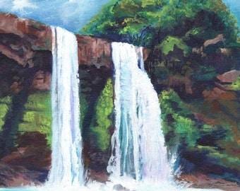 Wailua Falls Kauai  - 8 x 10 Art Print - Kauai Waterfall Art - Hawaiian Art - Kauai Twin Falls Print - Hawaiian Landscape Decor