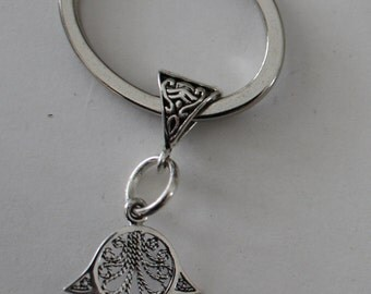 Sterling HAMSA, HAND of FATIMA Key Ring - Key Chain