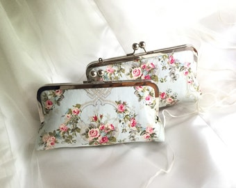 THE SHABBY chic Bridesmaid clutch with handle  in Blue add on photo lining