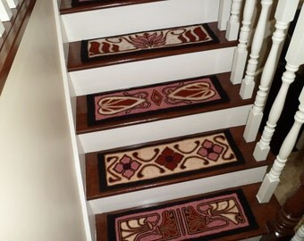 """Made To Order - Set of 12 """"Vintage Florals"""" Hooked Stair Treads"""