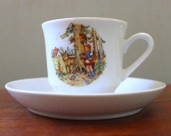 Little Red Riding Hood. Vintage 1970s East German Kahla porcelain cup and saucer.