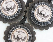 Set of THREE Vintage HALLOWEEN Inspired Gift Tags Ornaments Victorian Paper Rosettes Skull