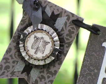 Vintage Halloween BOO Inspired Banner Garland Victorian Paper Rosettes Grey and Black Skeleton Ribcage