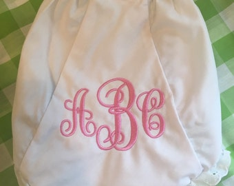 Embroidered Monogrammed Bloomers Diaper Cover Panty Personalized
