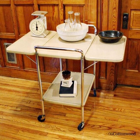 Vintage Metal Cart Serving Cart Fold Out Sides Kitchen
