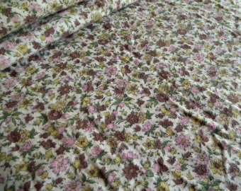 Vintage Flannel Fabric - Calico Floral Purple and Pink - 1960's - Yardage