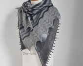 Lace knitted shawl, shades of grey, N357