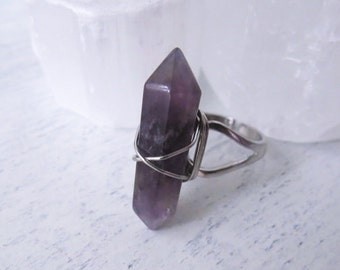 Double Terminated Amethyst  Ring