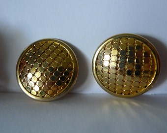 stay gold vintage bling 80s earrings mesh metal on domes clip ons  costume