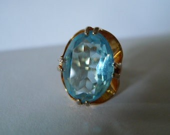 vintage blue gemstone ring aqua nyc   cocktail gold  1950s