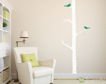 1 Birch Trees with 2 Birds - Vinyl Lettering - Home Decor - Nursery or Bedroom Decor - Vinyl Wall Art Graphic Stickers Decals 1366