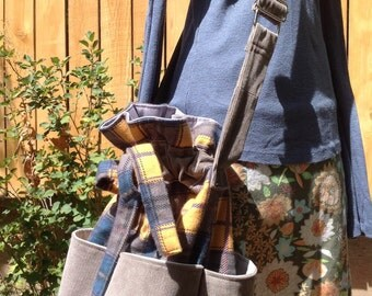 Drawstring Bucket Bag For Fall Yellow Plaid Flannel and Gray with Convertible Shoulder Strap
