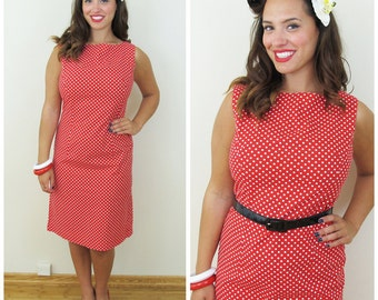 60s Red and White Polka Dot Rockabilly Wiggle Dress, Size Medium