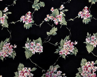 Black Crepe Fabric with Ivory and Pink Violet Bunches