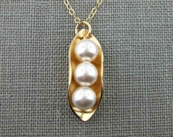 Three Peas in a Pod Necklace - 14k Gold Filled and Swarovski Crystal Pearls (NP015).