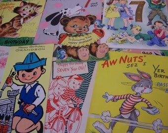 eight children's vintage birthday cards