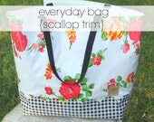 everyday bag with scallop contrast bottom // oilcloth tote carryall purse scalloped lined / floral chevron gold black white dot stripe