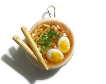 Ramen Noodle Bowl Pendant,  Polymer Clay Jewelry,  Miniature Food Soup