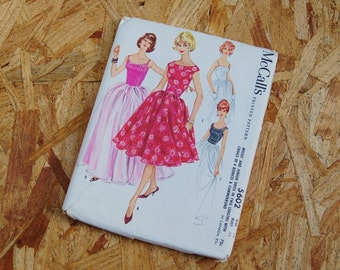 Vintage McCall's 1950's Pattern Full Skirt Dress 5602 size 16 Bust 36 copyright 1960