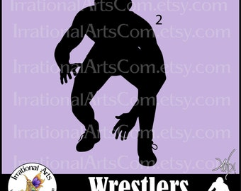 Wrestlers Silhouettes Pose 2 - with 1 PNG EPS SVG digital clipart graphic {Instant Download}