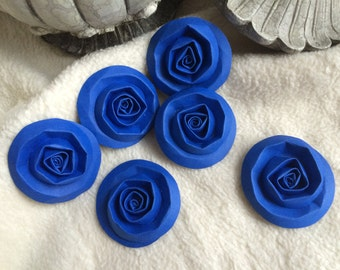 Scrapbook Flowers...6 Piece Set of Very Charming Royal Blue Scrapbook Paper Flower Rolled Roses