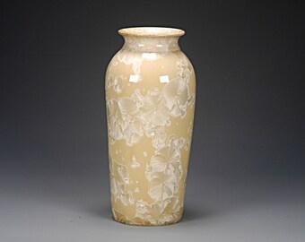 Ceramic Vase - Tan- Crystalline Glaze on High-Fired Porcelain - Hand Made Pottery - FREE SHIPPING - #E-1-4203