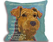 Airedale dog pillow airedale home decor customizable dog art pillow home decor dog breed portrait pillow