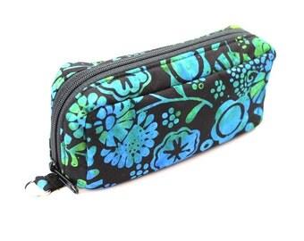 Essential Oil Case Holds 10 Bottles Essential Oil Bag Blue and Green Flowers on Black Batik