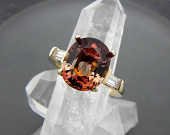 AAAA Watermelon Tourmaline   12x9mm  4.22 Carats   Natural Untreated Oval Engagement ring with .30 cts of Diamonds 14K Yellow gold.  2141
