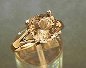 AAA Pink Morganite 10mm Round 3.71 carat set in 14K Rose gold ring. 1833 y