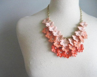 40% off SALE-use coupon code Discount40 at checkout-Vintage Orange Ombre Acrylic Flower and Rhinestone Statement Bib Necklace