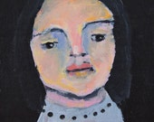Acrylic Woman Portrait Painting. 4x4 Mini Pocket Art. Girl's Room. Friend Gift for Her. Living Room Wall Decor