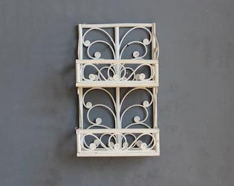 Bamboo Rattan White Wall Shelf