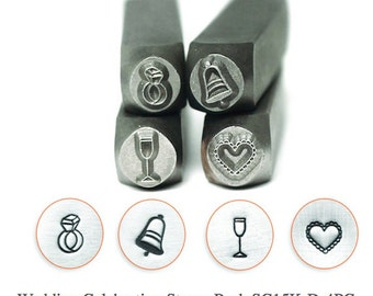 Wedding Celebration Stamp Pack - 4 pc., SC15K-D-4PC, Carbon Steel Stamp, ImpressArt Stamp, Metal Working Stamps, Metal Design Stamps