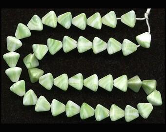 Vintage Green & White Beads 7mm Pyramid Shape Matte W. G.