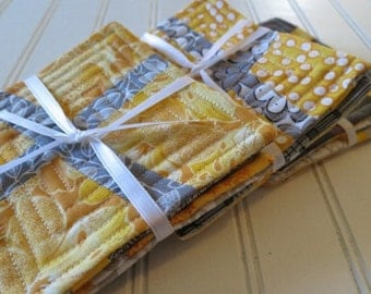 Set of 4 Reversible Quilted Coasters - Modern Yellows & Greys