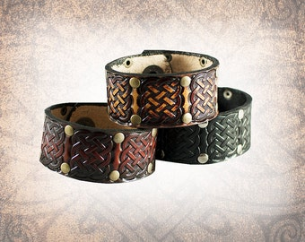 The Celtic Knot Cuff - Leather Cuff, Leather Wristband, Leather Bracelet, Brown Leather Cuff, Celtic Cuff - Custom to You (1 cuff only)