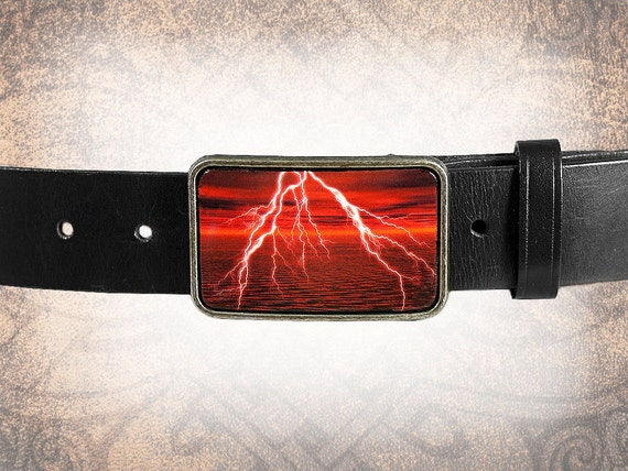 Belt Buckle - Red Lightning- Leather Insert Belt Buckle