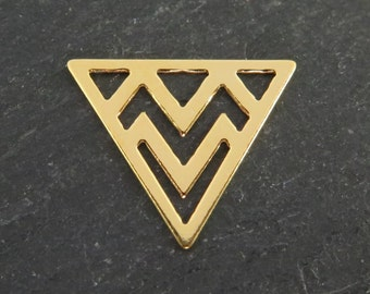 Gold over 925 Sterling Silver Triangle Component 14mm (CG7871)