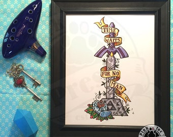Time Waits for No Man, Legend of Zelda inspired artwork print, Tattoo Style, Room Decor