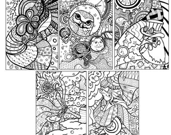 Genial Assortment #1 Fine Art Coloring Pages By Jen Kroll