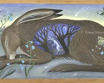 I used to be an Alchemist. Sleeping hare. Art print.