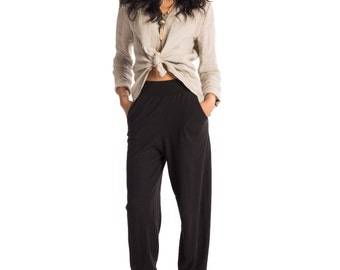 Pretty Birdie's Hemp and Organic Cotton Jersey Harem Pants in Black